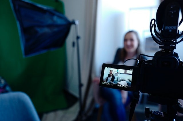 Customer being interviewed for a video case study